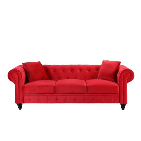 Classic Velvet Scroll Arm Tufted Button Chesterfield Sofa (Red) ()