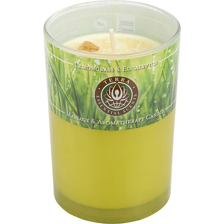 Scented Stones (LEMONGRASS & EUCALYPTUS by Terra Essential Scents - MASSAGE & AROMATHERAPY SOY CANDLE 12 OZ TUMBLER. A SOOTHING & UPLIFTING BLEND WITH CITRINE GEMSTONE. BURNS APPROX. 30+ HOURS -)