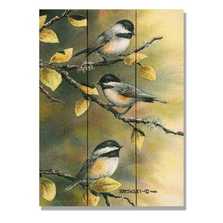 Daydream Bartholets Three Chickadees Indoor / Outdoor Cedar Panel Wall Art ()