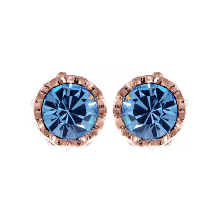 Aquamarine Blue Crystal Elements Golden Classic Studs Fashion (Aquamarine Blue Crystal)