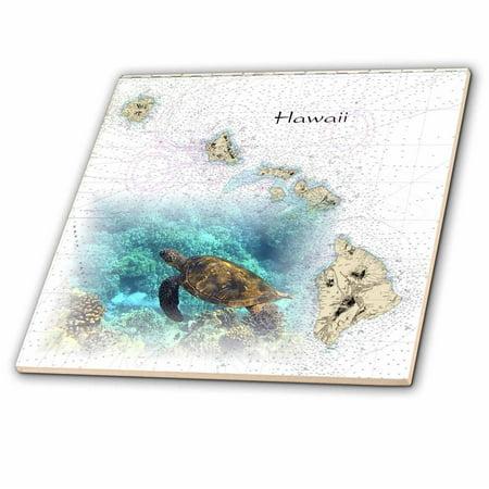 - 3dRose Print of Hawaiian Islands Chart With Sea Turtle - Ceramic Tile, 12-inch