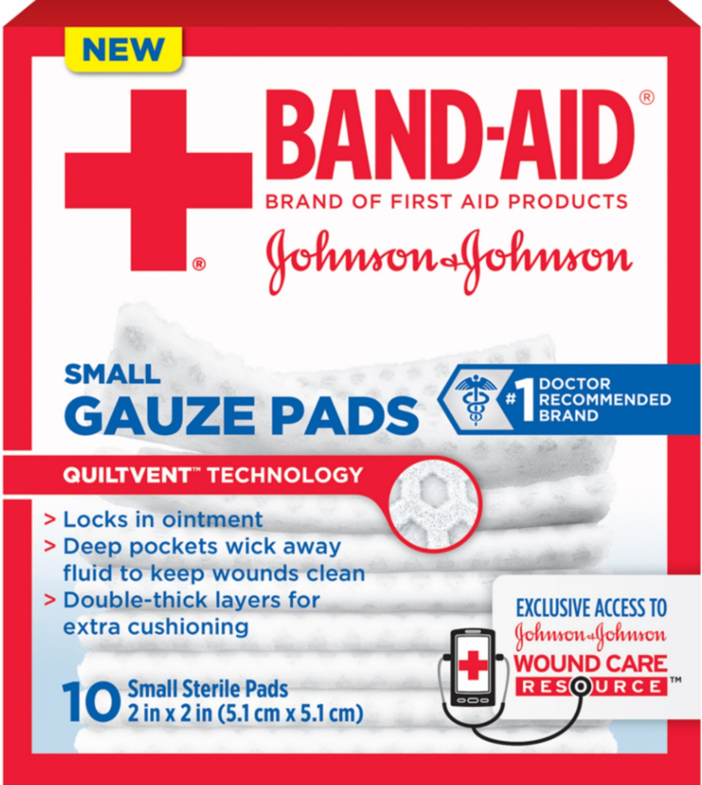 BAND-AID First Aid Gauze Pads, 2 in x 2 in, 25 ea (Pack of 4)