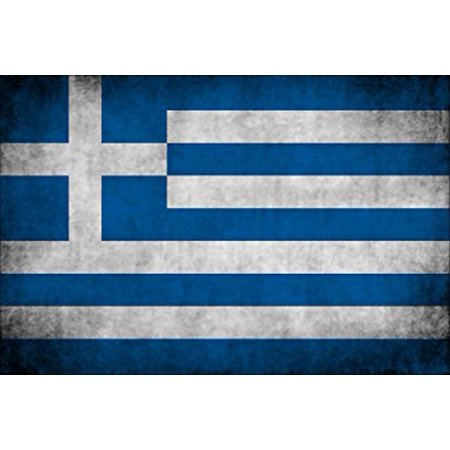 Greek Flag Sticker (VINTAGE Greek Flag Sticker Decal (greece old distressed) Size: 3 x 4)