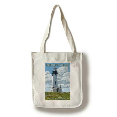 Oregon Coast - Yaquina Head Lighthouse - Lantern Press Artwork (100% Cotton Tote Bag - Reusable)