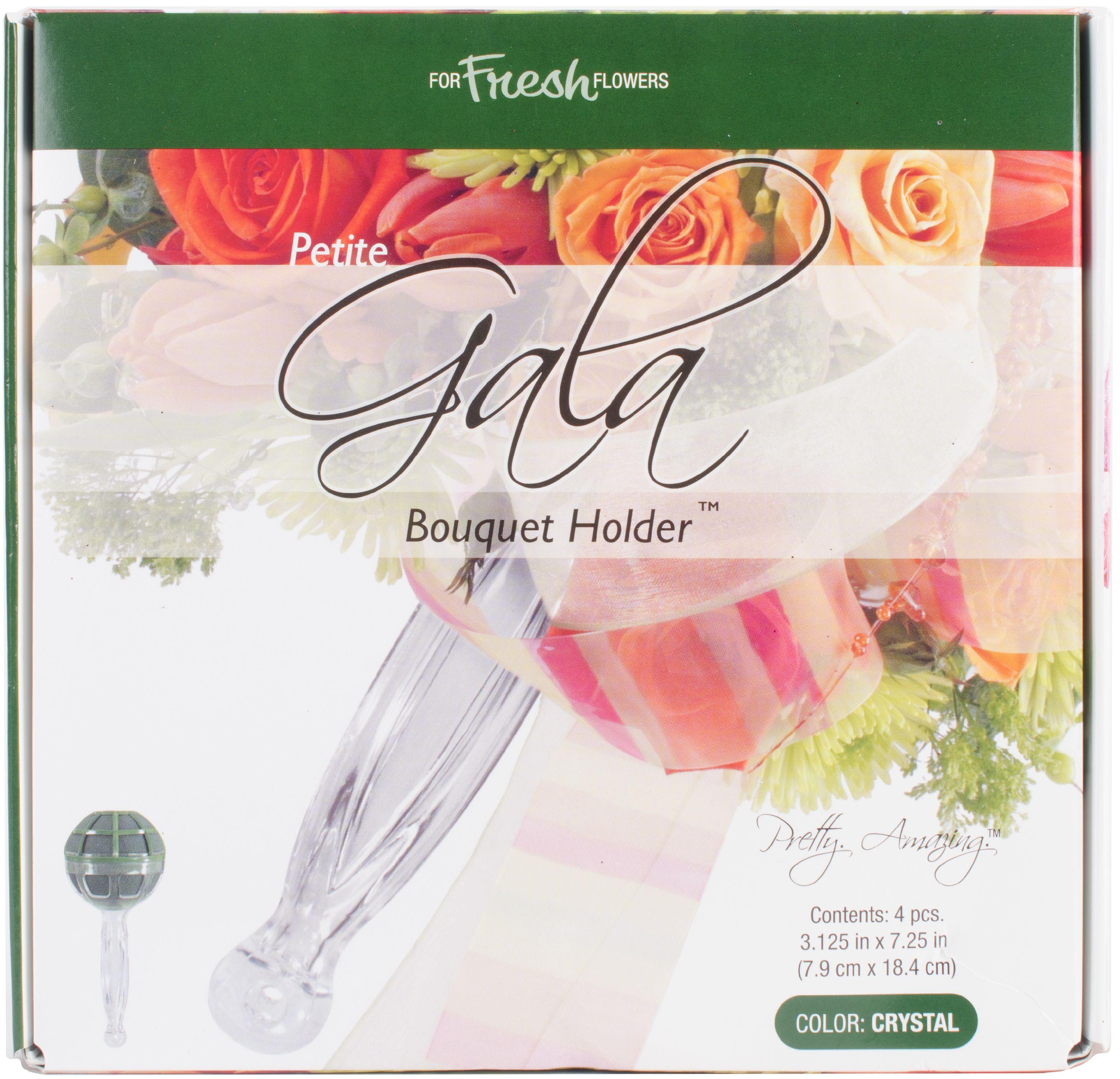 """Gala Bouquet Holder W/Artesia Wet Foam 4/Pkg-3""""X7"""""""