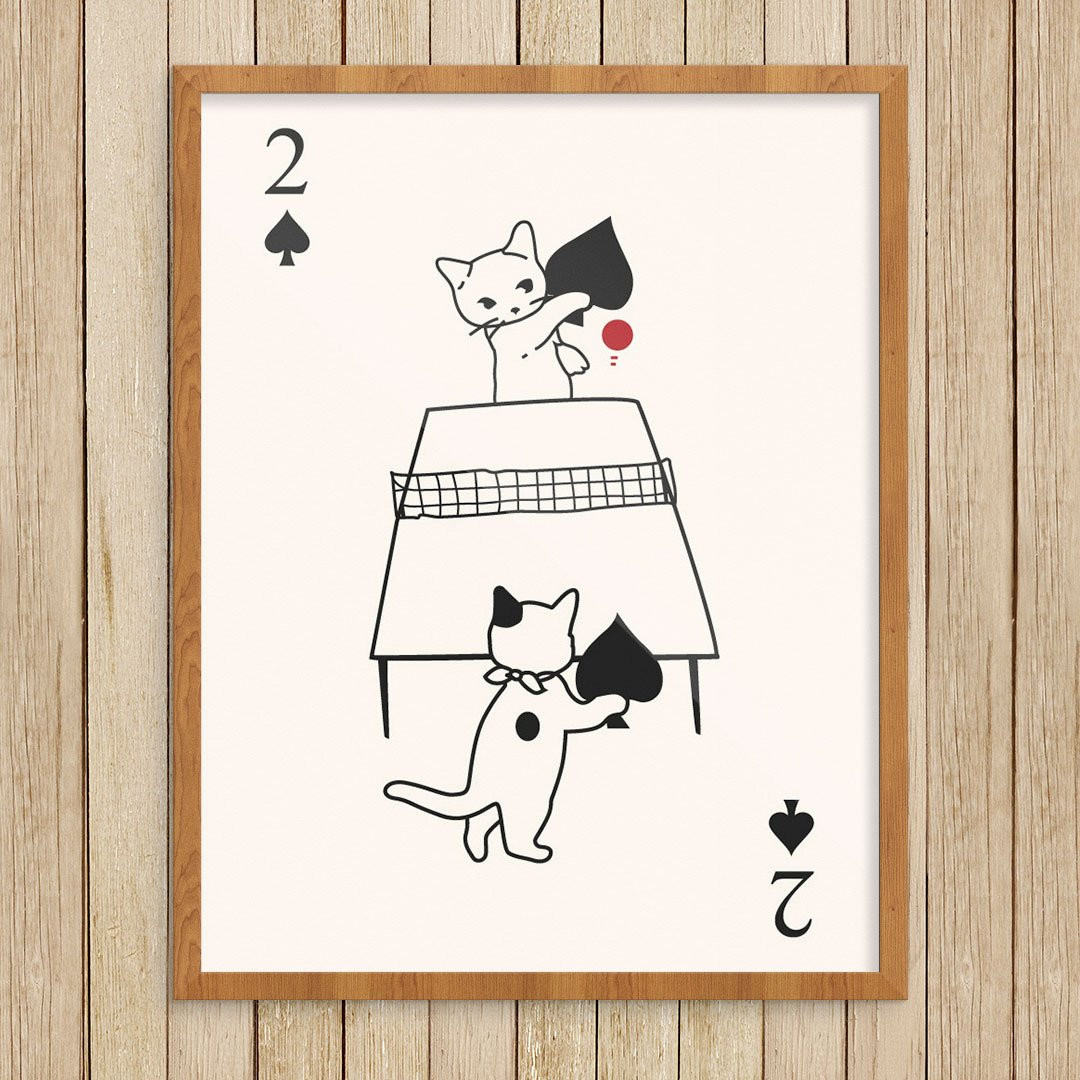 Cats Playing Ping Pong Print by