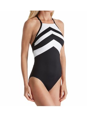 3885e1e3c03e86 Product Image Lauren Ralph Lauren LR7DE08 Chevron High Neck One Piece  Swimsuit