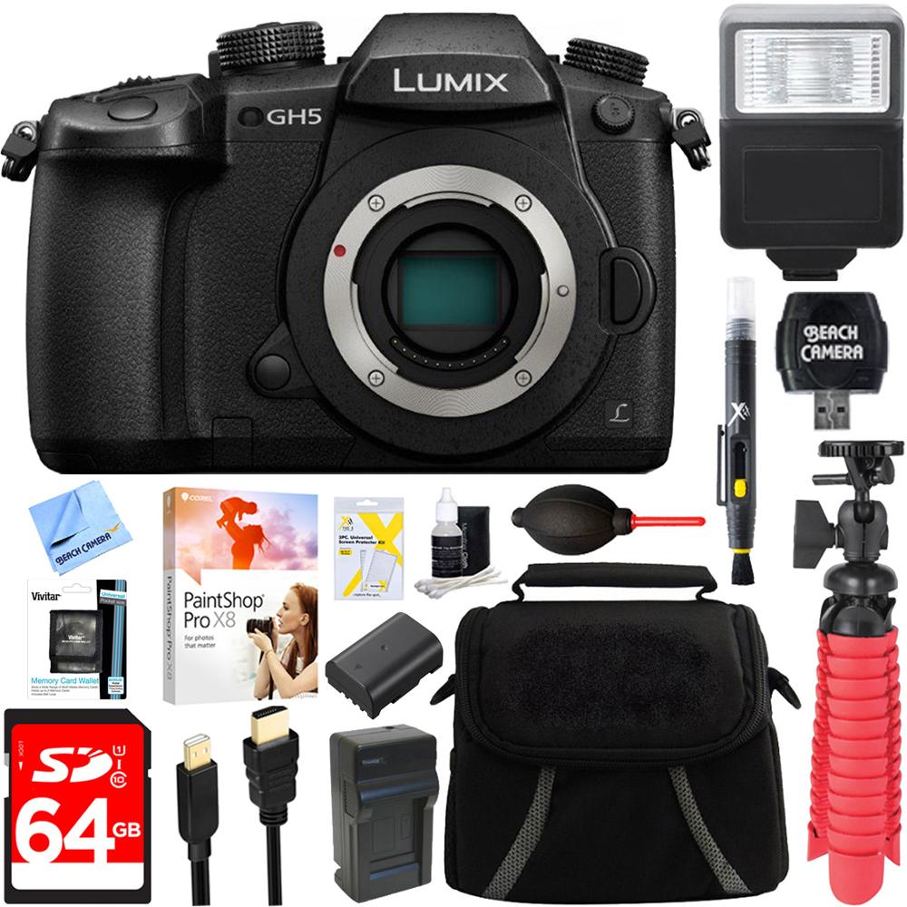 Panasonic LUMIX GH5 20.3MP 4K Mirrorless Digital Camera with WiFi (Body) + 64GB Class 10 UHS-1 SDXC Memory... by Panasonic
