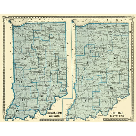 Old State Map - Indiana Political Map - Baskin 1876 - 23 x 28.74 1876 Indiana County Map