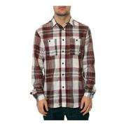 AMBIG Mens The Jarred LS Button Up Shirt, red, Medium