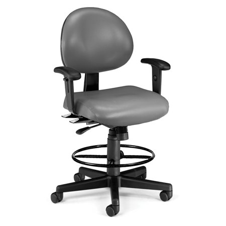 OFM 241-VAM-AADK 24 Hour Ergonomic Task Chair with Arms and Drafting Kit, Antimicrobial Vinyl, Mid Back, Charcoal