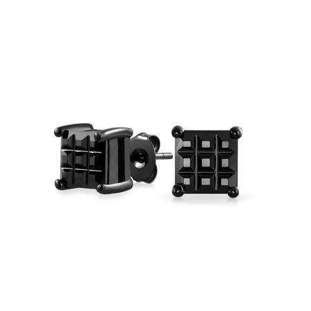 1CT Black On Black Invisible Cut Square CZ Checkboard Cubic Zirconia Prong Basket Set Stud Earrings Sterling Silver