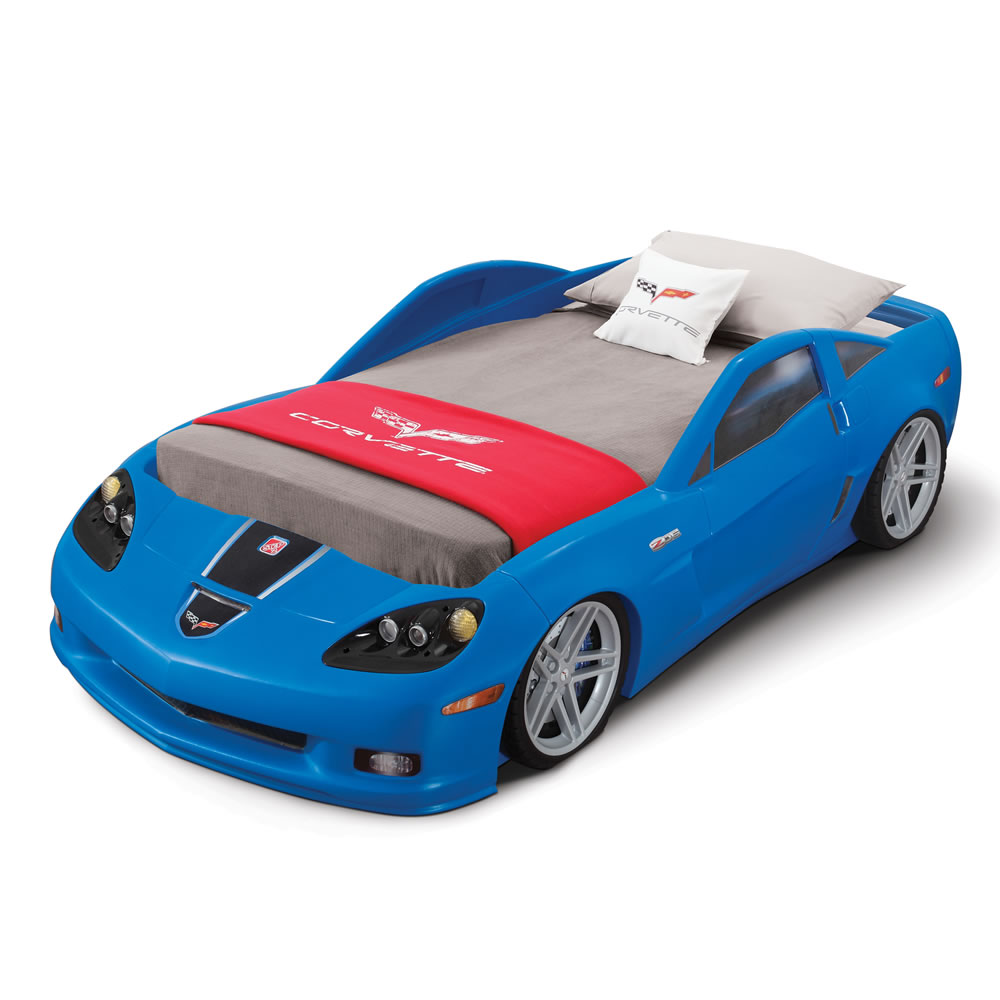 Step2 Corvette Z06 Convertible Toddler To Twin Bed With Lights, Blue    Walmart.com