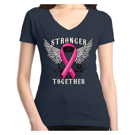(Shop4Ever Women's Stronger Together Breast Cancer Awareness Slim Fit V-Neck T-Shirt)