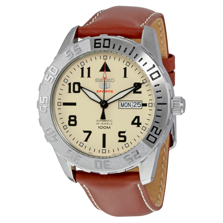 Seiko 5 Sports Automatic Cream Dial Mens Watch SRP757