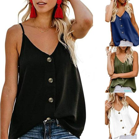 Women Loose Casual V Enck Sleeveless Camisole Summer Tank Top