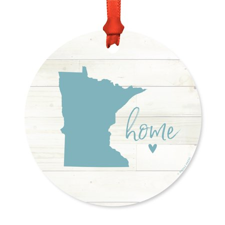 Us State Round Metal Christmas Ornament  Rustic Light Wood Print  Minnesota Home  Includes Ribbon And Gift Bag