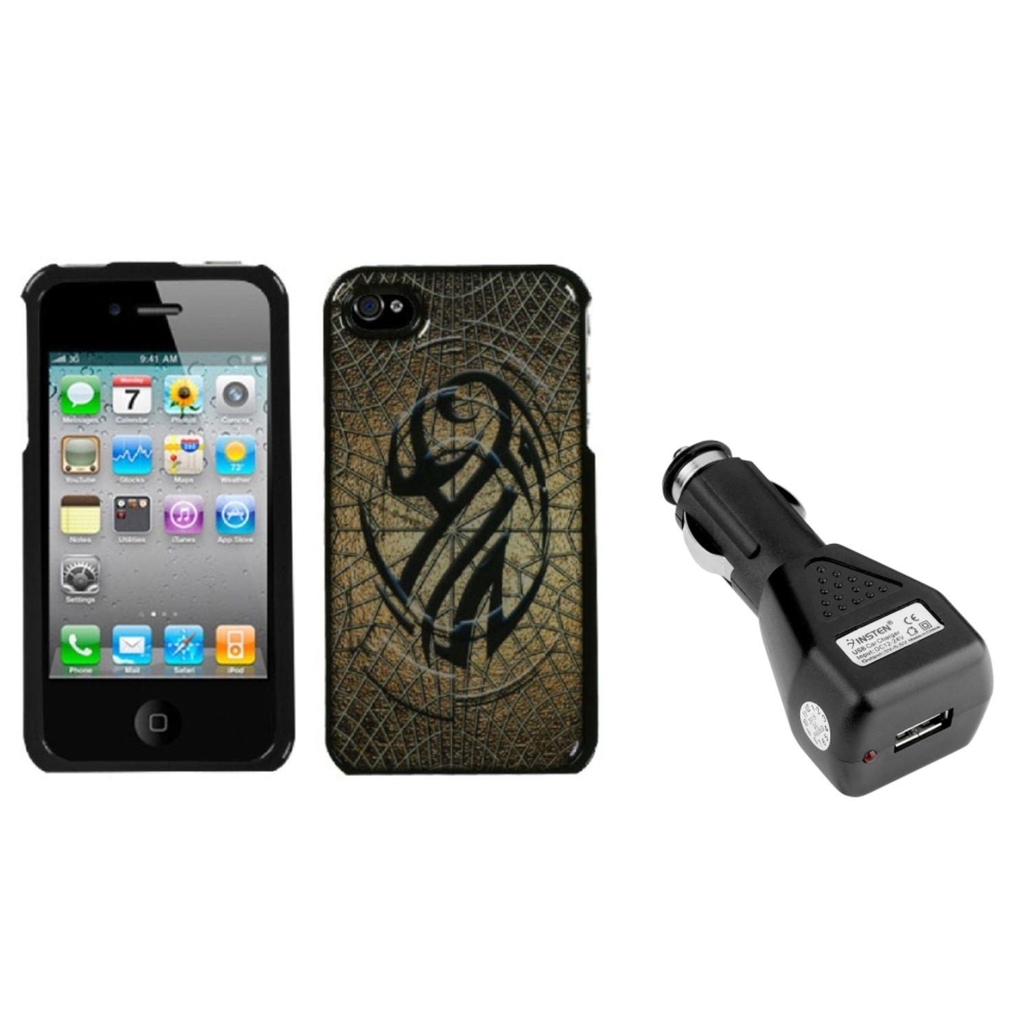 Insten Web of Iron Dream Case For iPhone 4 4S + USB Car Charger Adapter