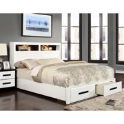 Furniture of America  Deas Modern White Solid Wood Storage Platform Bed Queen