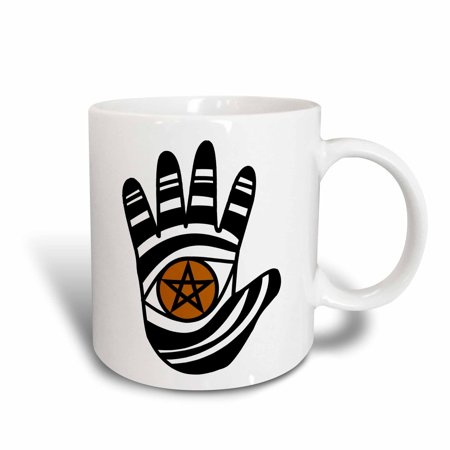 3dRose Pentacle Hand Pagan Witchcraft Tribal Wicca Symbol, Ceramic Mug, 15-ounce