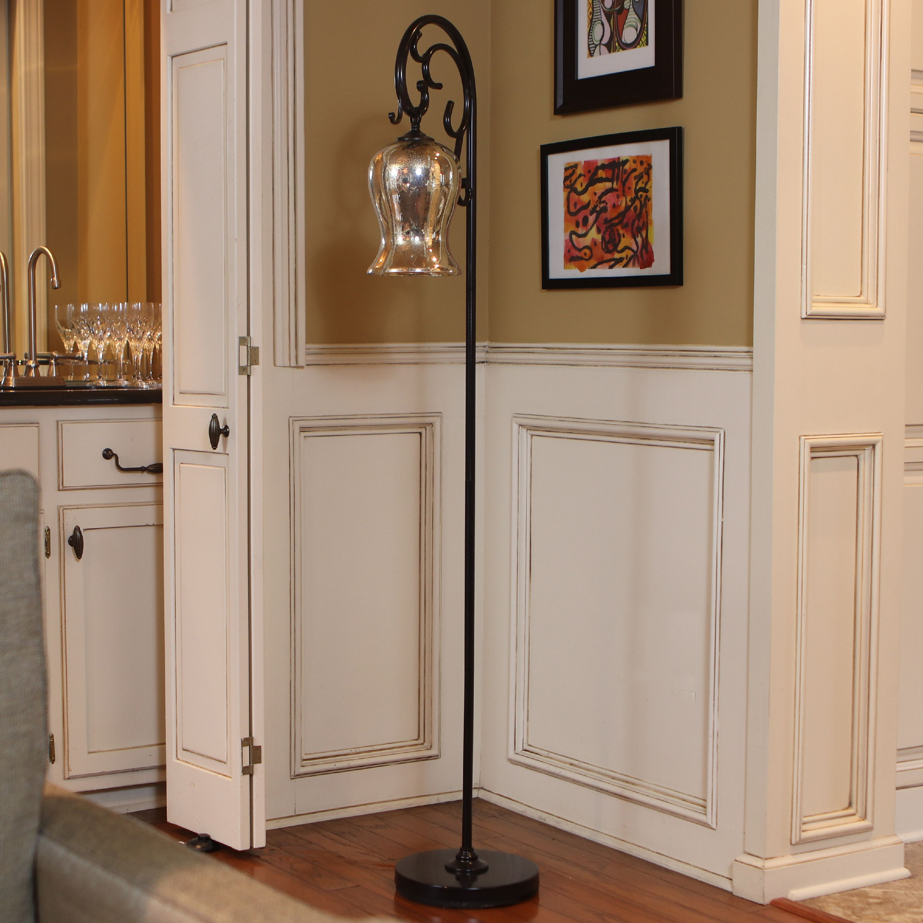 "64"" Textured Bronze Finish Downbridge K/D Floor Lamp, Amber Glass Globe"