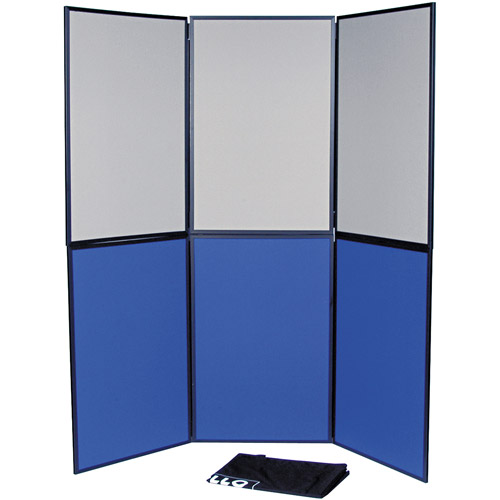 Quartet ShowIt 6-Panel Display System, Fabric, Blue/Gray/Black PVC Frame