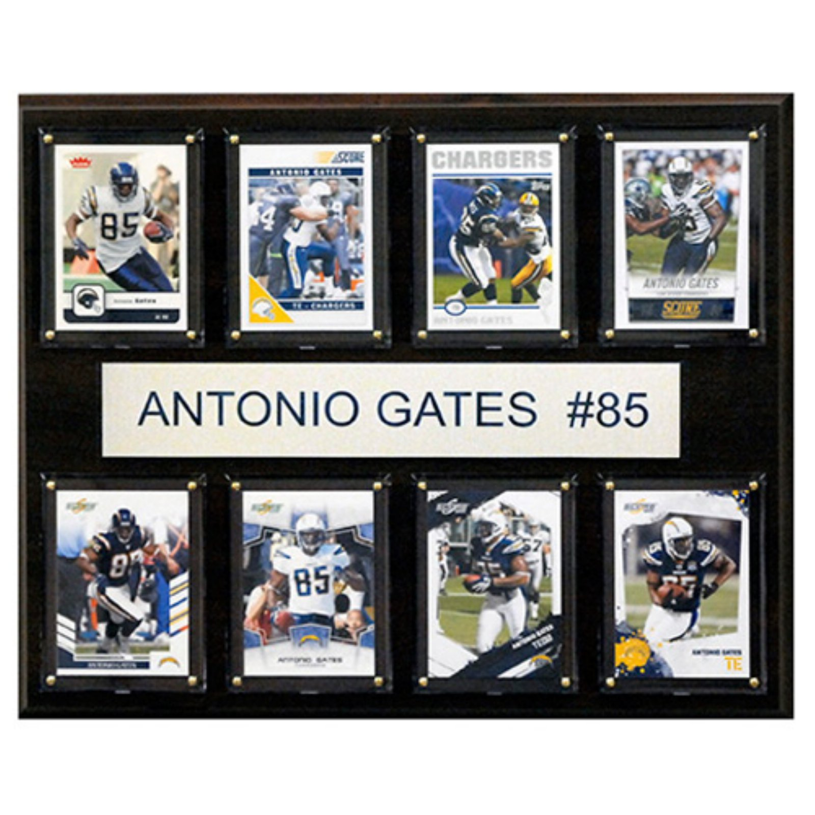 C and I Collectables NFL 15W x 12H in. Antonio Gates San Diego Chargers 8 Card Plaque
