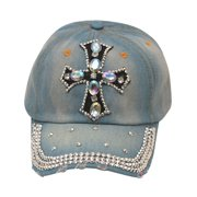 womens Blue Denim Gemstone Studded Cross Applique Cap Sun Hat