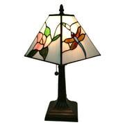 "Tiffany Style Dragonflies Mini Table Lamp - 15"" Tall"