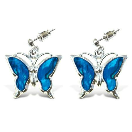 Aqua Jewelry    Earrings   Dangle Post   Metal Bullet   Butterfly
