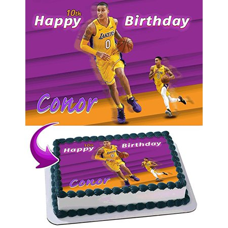 Kyle Kuzma Lakers Edible Image Cake Topper Personalized Icing Sugar Paper A4 Sheet Edible Frosting Photo Cake 1/4 Edible Image for cake - Lakers Decorations