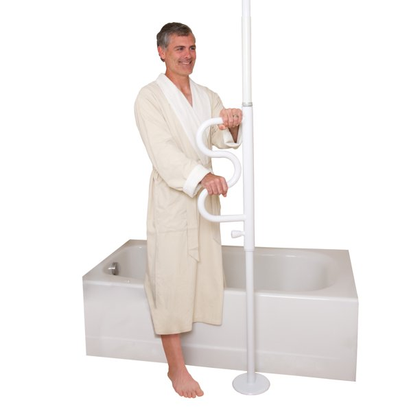 Stander Security Pole and Curve Grab Bar, Elderly Tension Mounted Floor to Ceiling Transfer Pole, Bathroom Safety Aid & Standing Support, Iceberg White