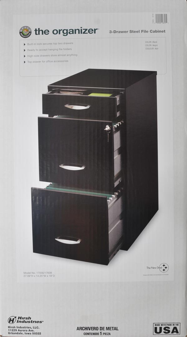 Filing Cabinet, 3 Drawer Accessory File, Black   Walmart.com