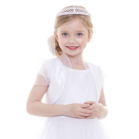 Girls White Satin Organza Ruffles Elegant Bolero ()