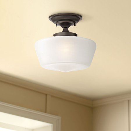 "Regency Hill Schoolhouse Ceiling Light Semi Flush Mount Fixture Bronze 12"" White Glass for Bedroom Kitchen"