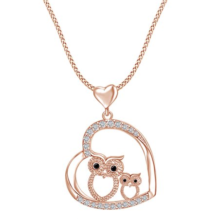 Mothre's Day Jewelry Gift Mom and Daughter Owl Heart Pendant Necklace In 14k Rose Gold Sterling Silver (14k Gold Owl)