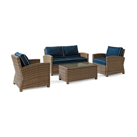 Crosley Furniture Bradenton 4 Piece Outdoor Wicker Seating Set with Navy Cushions - Loveseat, Two Arm Chairs & Glass Top Table