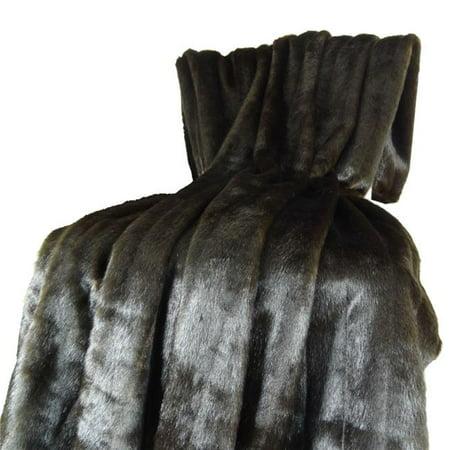Plutus PB16425-6090-TC Tip Dyed Brown Mink Fur Handmade Throw, Dark & Brown - 60 x 90 in. - image 1 de 1
