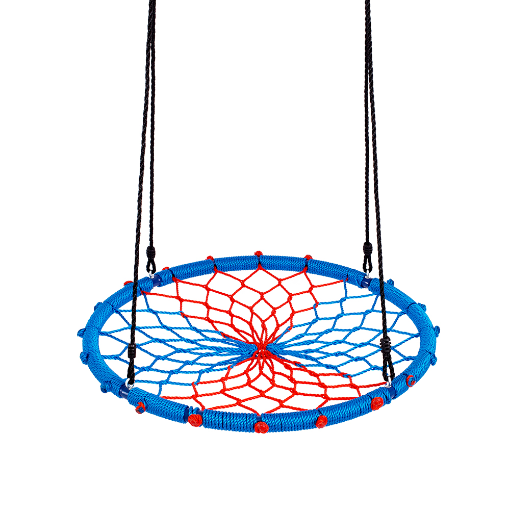 "Clevr 38"" Kids Children Outdoor Round Tree Spider Tire Web Net Swing Blue Red"