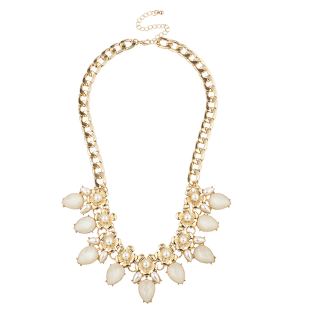 Lux Accessories Gold Tone Faux Pearl Flower Floral Statement Bib Chain - Faux Pearl Necklaces