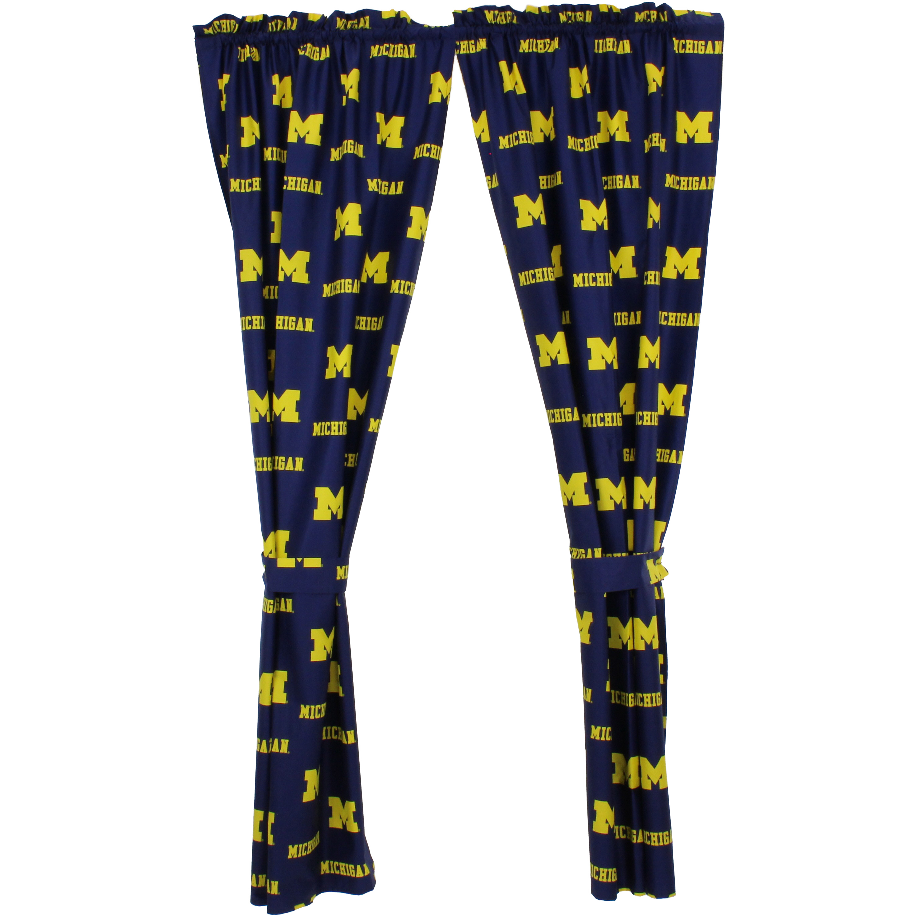 "Michigan Wolverines 100% Cotton, 63"" Curtain Panels, Set of 2"