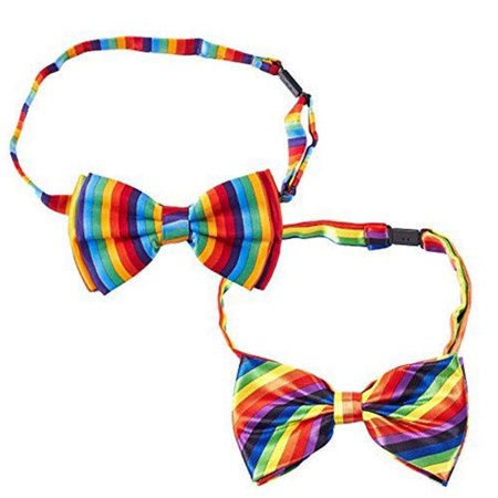 Rainbow Bow Tie – 2-Pack Men's Adjustable Pre-tied Bowtie for Gay Pride Parade Rainbow Jersey Tie