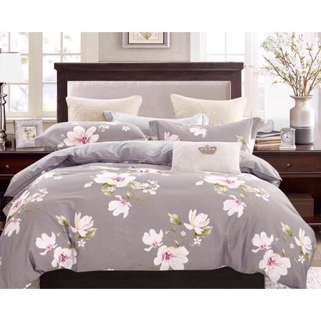Swanson Beddings Magnolia Floral Print 3-Piece 100% Cotton Bedding Set: Duvet Cover and Two Pillow Shams (Full) ()