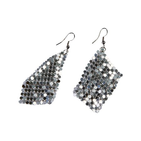 Womens 70's Hippie Disco Drop Silver Sequin Earrings Costume - Disco Accessories