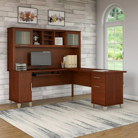 Bush Furniture Somerset 72W L Shaped Desk with Hutch in Hansen Cherry
