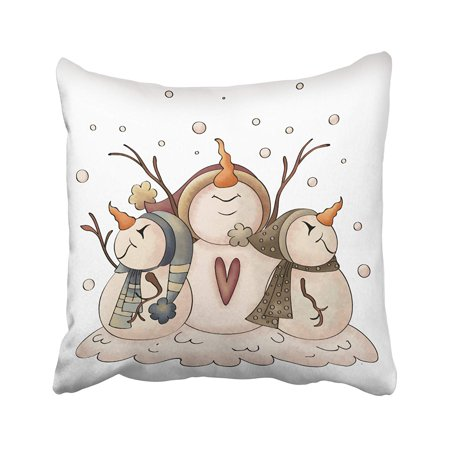 BPBOP Xmas New Year Snowman Snowflake Winter Country Primitive Pillowcase Pillow Cushion Cover 18x18 inches ()