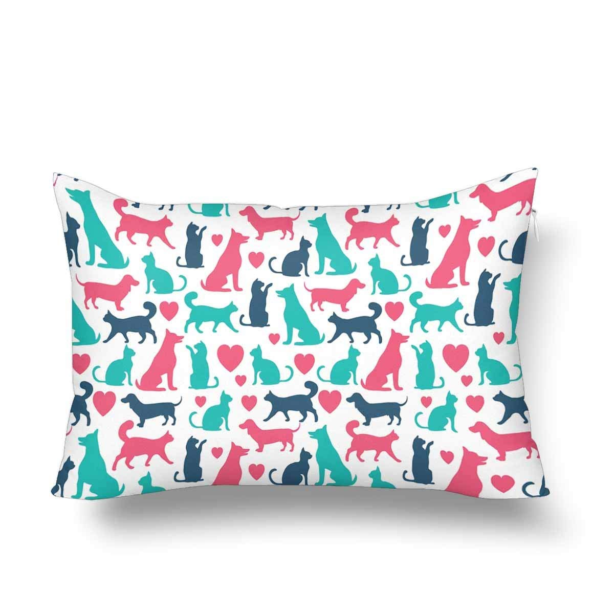 GCKG Vector Seamless Pattern Cats Dogs Cute Animal Pillow Cases Pillowcase 20x30 inches - image 4 of 4