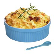 Souffle Dish Ramekins for Baking – 32 Oz, 1 Quart Large Ceramic Oven Safe Round Fluted Bowl with Mini Condiment Spoon for Soufflé Pot Pie Casserole Pasta Roasted Vegetables Baked Desser