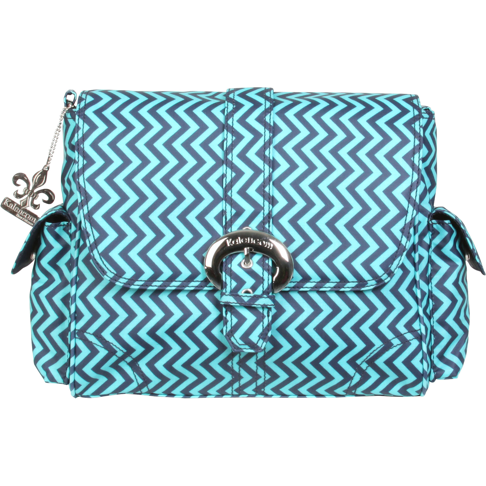 Kalencom Messenger Buckle Diaper Bag, Wiggly Stripes Ocean, Matte Coated