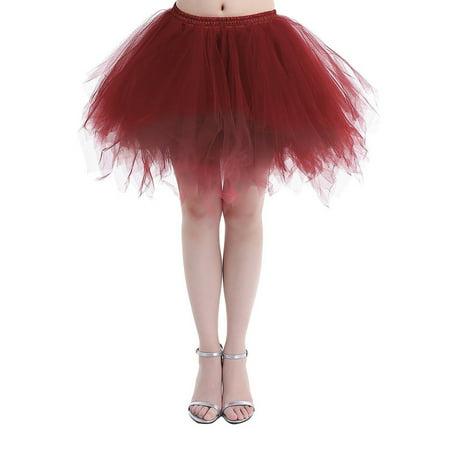 Bagail Mini Tulle Skirt Petticoat Ballet Bubble Crinoline Tutu Skirrt Underskirt for Vintage Dress Cocktail Dress - Mini Petticoat